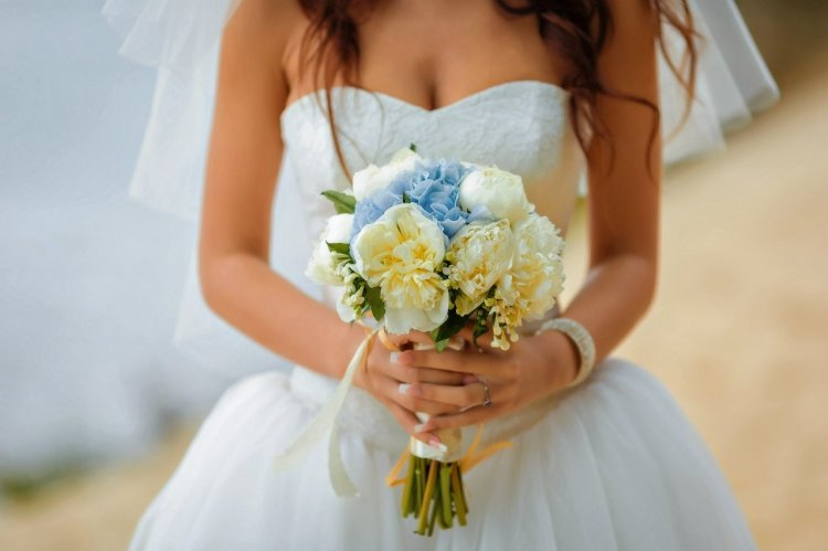 Гортензии и пионы для изящной невесты