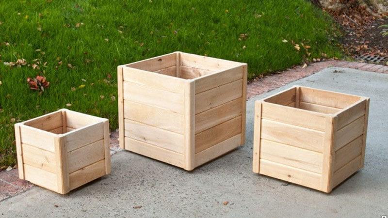 деревянное кашпо